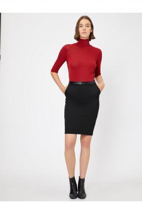 تنورة قصيرة بخصر من الجلد - اسود