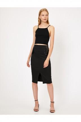 تنورة قصيرة مزينة بجلد - اسود