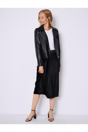 تنورة قصيرة مزخرفة بخصر مطاط - اسود