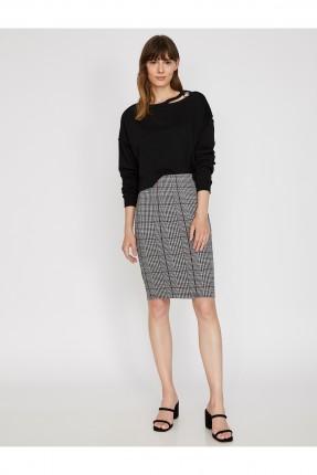 تنورة قصيرة كاروه ضيقة - خمري