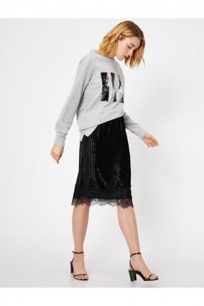 تنورة قصيرة مزينة بتول - اسود