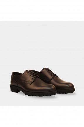 حذاء رجالي برباط مع زخرفة على الجانب - بني