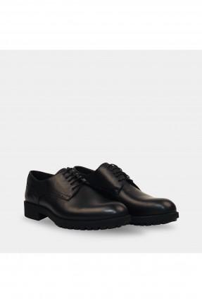 حذاء رجالي بزخرفة على الجانب - اسود