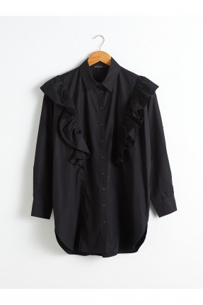 قميص نسائي بوبلين بكشكش على الصدر - اسود