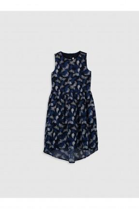 فستان اطفال بناتي بوبلين مزخرف - كحلي