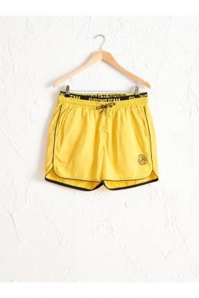 شورت سباحة رجالي بطبعة - اصفر