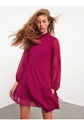 فستان سبور شيفون بكشكش - فوشيا