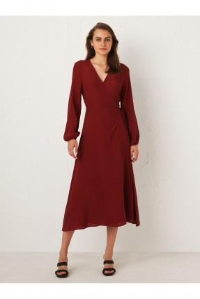 فستان سبور بياقة موديل لف - خمري