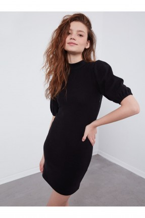 فستان سبور قصير باكمام بالون - اسود