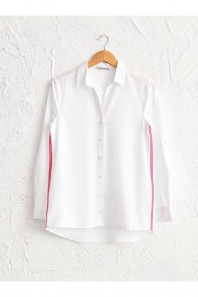 قميص نسائي بوبلين بخط جانبي ملون
