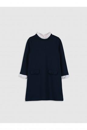 فستان اطفال بناتي بياقة دائرية - كحلي