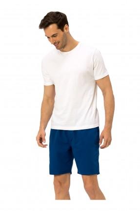 شورت سباحة رجالي بربطة على الخصر - ازرق داكن