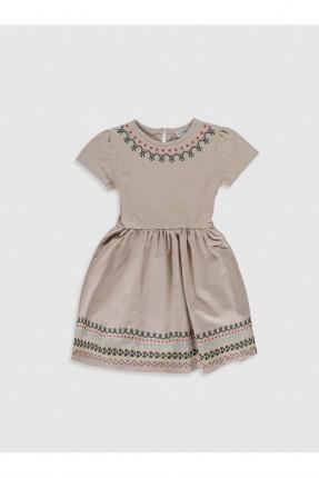 فستان اطفال بناتي مزين بزخرفة - بيج