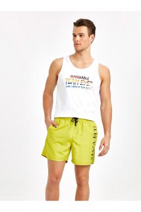 شورت سباحة رجالي بطبعة كتابة - اصفر