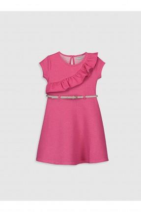 فستان اطفال بناتي بكشكش - زهري