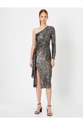 فستان رسمي مزين بالترتر بكتف واحد