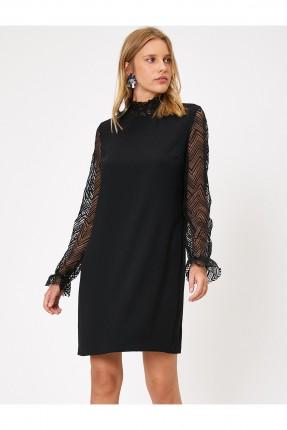 فستان رسمي باكمام طويلة شفاف - اسود