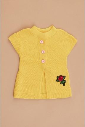 جيليه اطفال بناتي تريكو بنقشة زهرة - اصفر