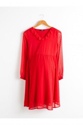 فستان سبور حمل شيفون منقط - احمر
