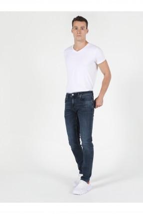 بنطال جينز رجالي بكحتة - ازرق داكن