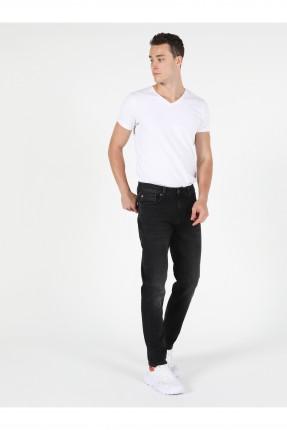 بنطال جينز رجالي بكحتة - اسود