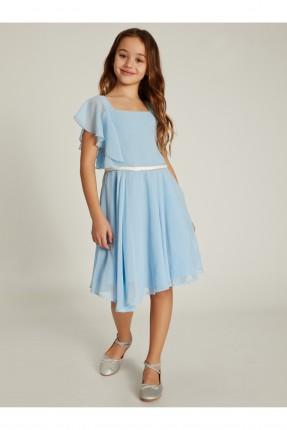 فستان اطفال بناتي شيفون بكشكش على الكتف - ازرق