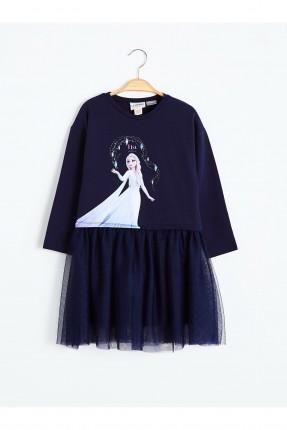 فستان اطفال بناتي بطبعة السا - كحلي