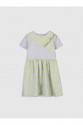 فستان اطفال بناتي منقط - رمادي