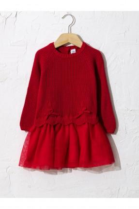 فستان بيبي بناتي بتول من الاسفل - احمر