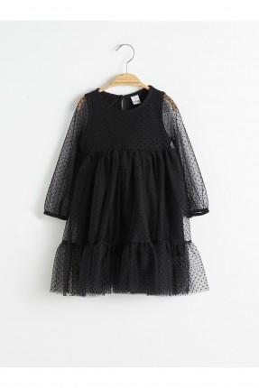فستان بيبي بناتي تول منقط - اسود