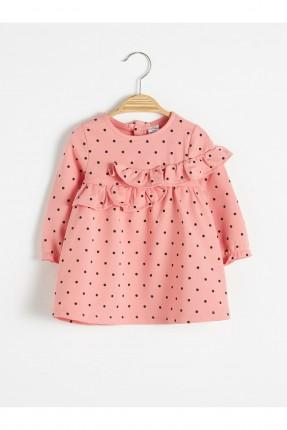 فستان بيبي بناتي منقط بكشكش - زهري