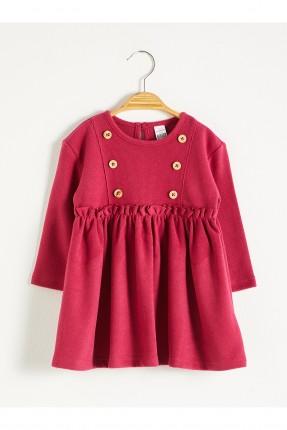 فستان بيبي بناتي بتفاصيل ازرار - خمري