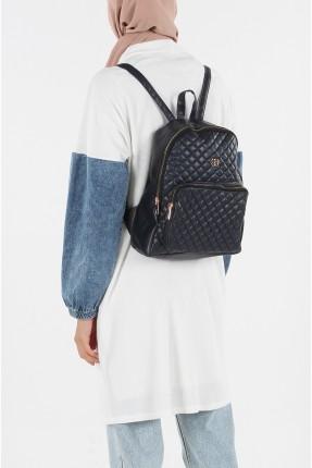 حقيبة ظهر نسائية مزينة بدرزة - كحلي