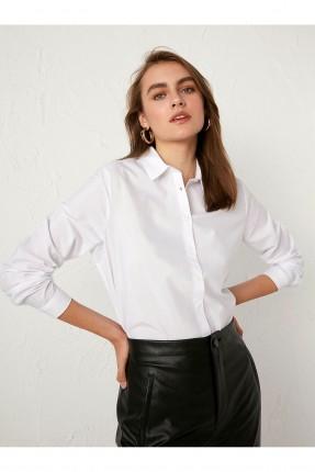 قميص نسائي سبور سادة اللون - ابيض