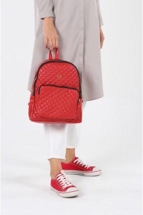 حقيبة ظهر نسائية بسحاب - احمر