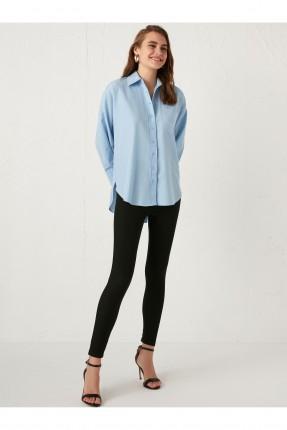 قميص نسائي بوبلين طويل من الخلف - ازرق