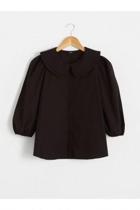 قميص نسائي بوبلين بياقة دانتيل - اسود