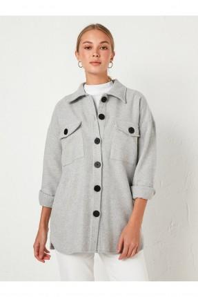قميص نسائي سبور بازرار مغايرة اللون - رمادي
