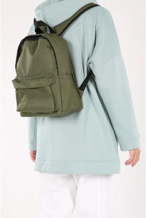 حقيبة ظهر نسائية بسحاب - زيتي