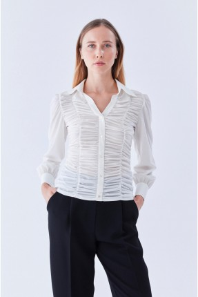 قميص نسائي سبور بكسرات - ابيض