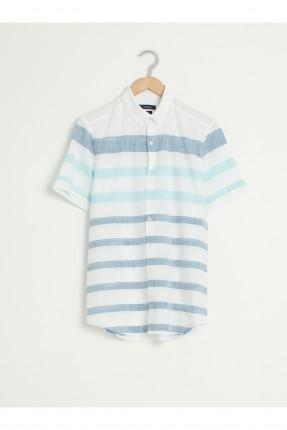 قميص رجالي بوبلين نصف كم