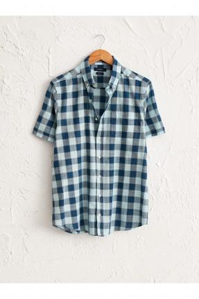 قميص رجالي بوبلين كاروه نصف كم