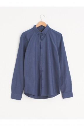 قميص رجالي سليم فيت بازرار على الياقة - ازرق داكن