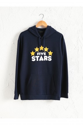 سويت شيرت رجالي بطبعة نجوم - ازرق داكن