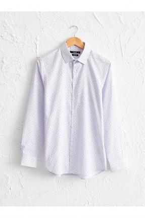 قميص رجالي سليم فيت باكمام طويلة - ابيض
