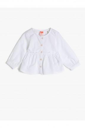 قميص بيبي بناتي بكشكش - ابيض