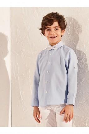 قميص اطفال ولادي ببابيون على الياقة - ازرق