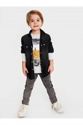 قميص جينز اطفال ولادي بكتابة على الظهر - اسود