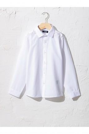 قميص اطفال ولادي سادة اللون - ابيض