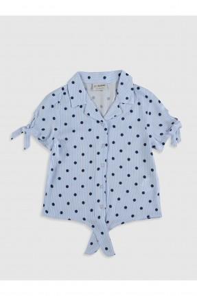 قميص اطفال بناتي منقط بربطات - ازرق